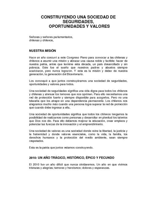 Mensaje Presidencial del 21 de Mayo de 2011
