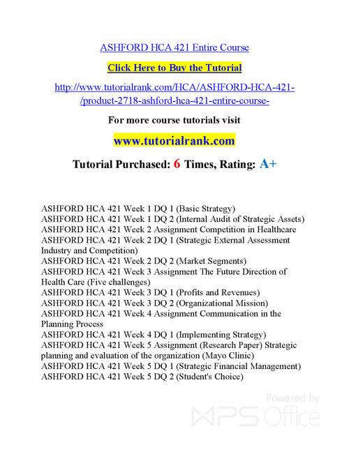 HCA 421 Course Success Begins / tutorialrank.com