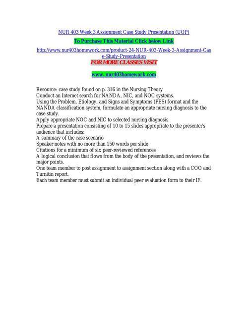 NUR 403 Week 3 Assignment Case Study Presentation (UOP)