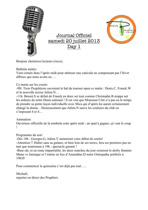 Journal Officiel des Peupliers days 1 to 11 - Tournoi Open 2013
