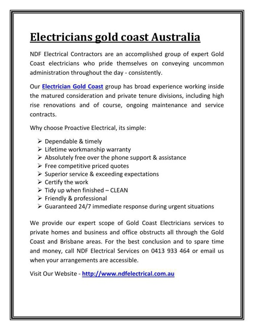 Electricians gold coast Australia