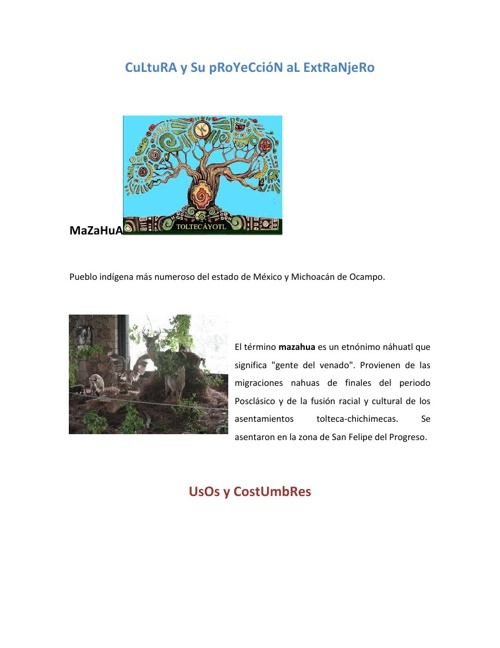 CuLtuRA y Su pRoYeCcióN aL ExtRaNjeRo