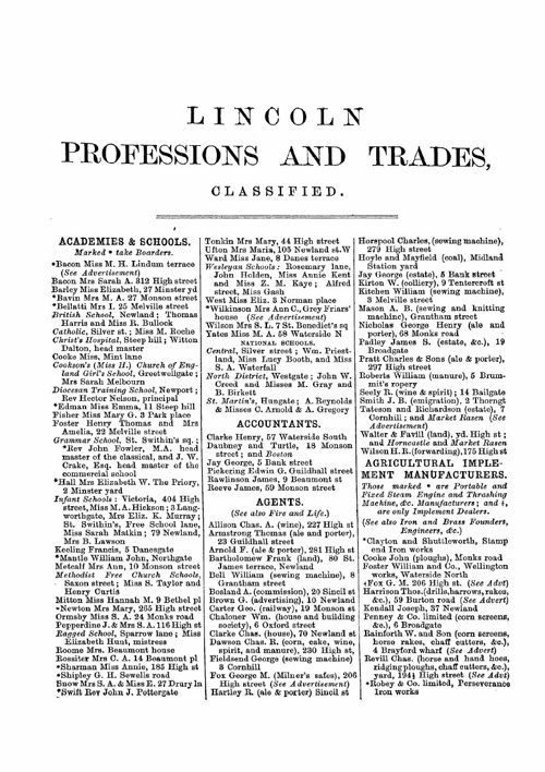 1872 Trade & Professional Directory