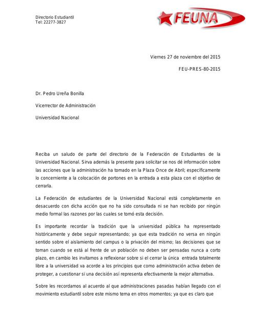 Carta Pedro Ureña  cierre explanada 11 de abril