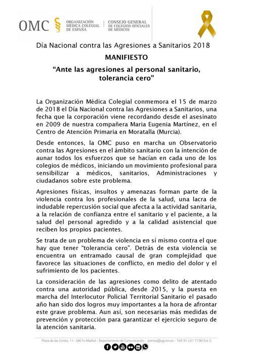 manifiesto Día Nacional contra Agresiones Sanitarias 2018