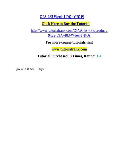 CJA 483 learning consultant / tutorialrank.com