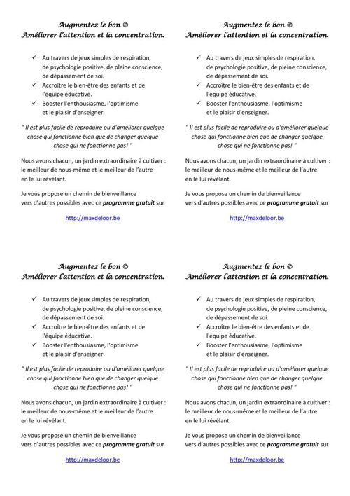Un chemin de bienveillance, document à  imprimer