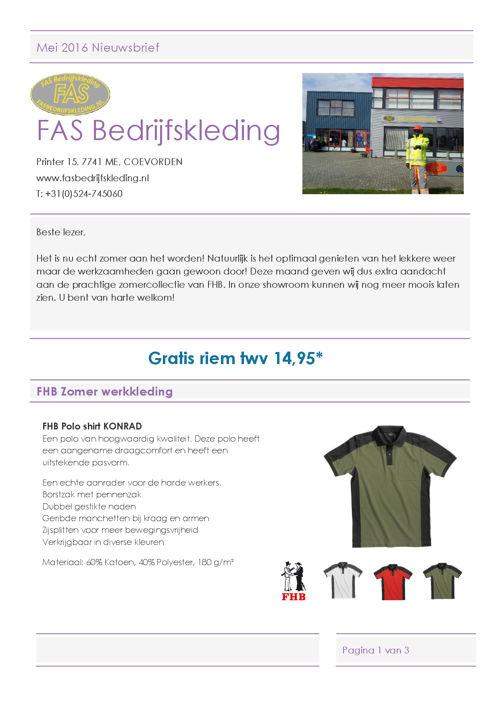 FAS Bedrijfskleding nieuwsbrief mei 20161
