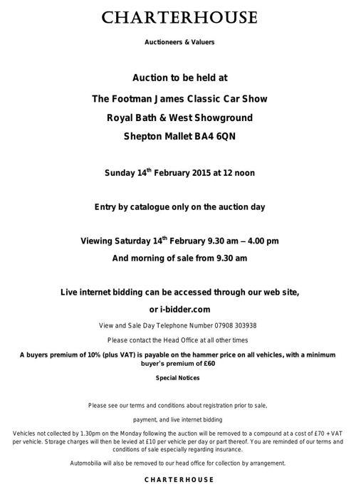 Charterhouse February 2016 Classic Car Catalogue
