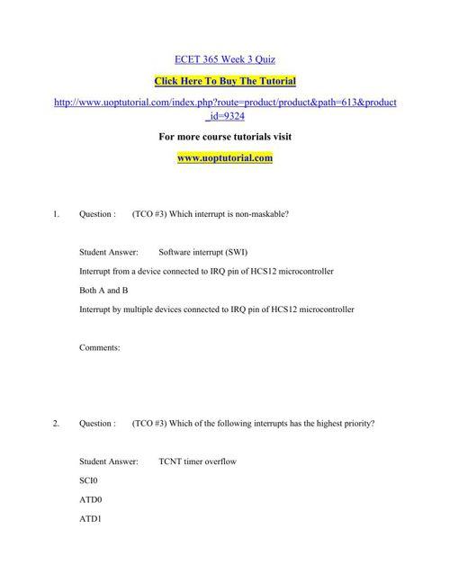 ECET 365 Week 3 Quiz