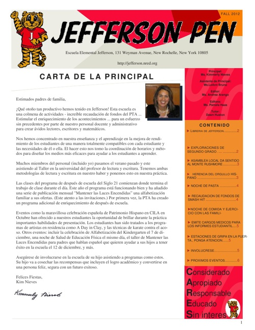 Jefferson Pen - Fall 2012 (Spanish)