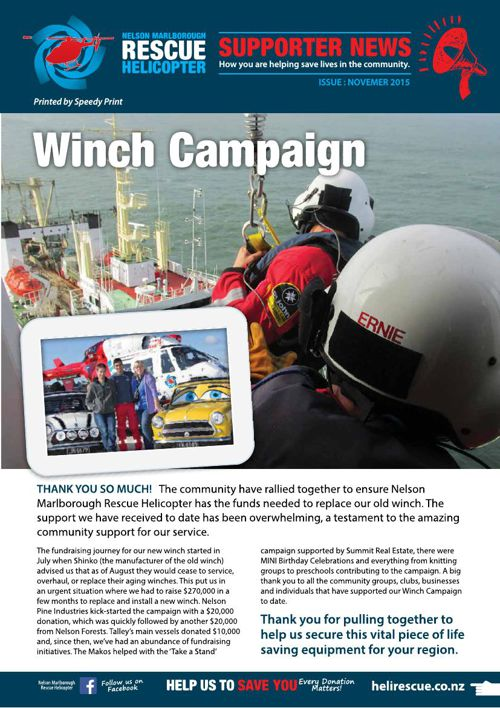 Nelson Marlborough Rescue Helicopter - Supporter News . November