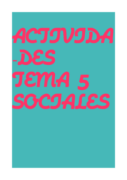 ACTIVIDADES SOCIALES TEMA 5