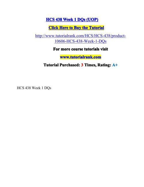 HCS 438 Potential Instructors / tutorialrank.com