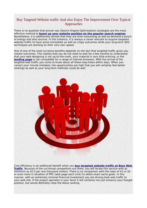 Buy Targeted Website traffic And also Enjoy The Improvement Over