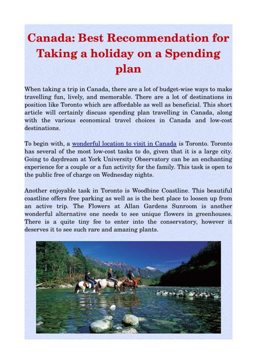 Canada: Best Recommendation for Taking a holiday on a Spending p