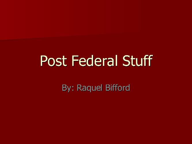 Post Federalism