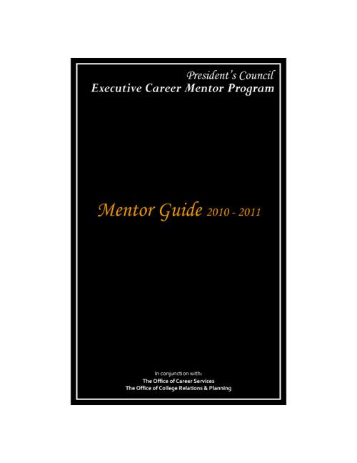 Mentor Guide, 2010-2011