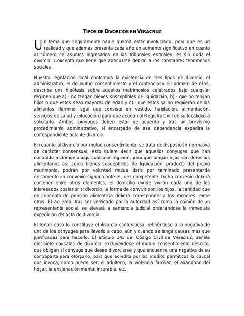 Tipos de Divorcios en Veracruz