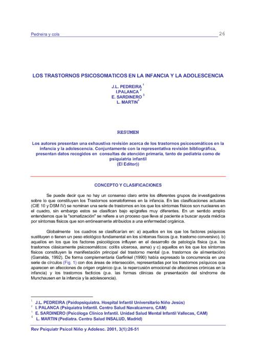 LOS TRASTORNOS PSICOSOMATICOS EN LA INFANCIA Y LA ADOLESCENCIA