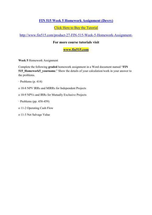 FIN 515 Week 5 Homework Assignment (Devry)