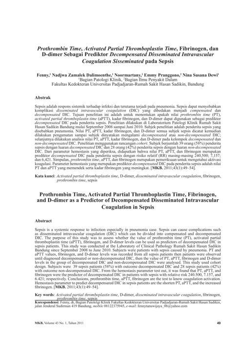 DIC  (Disseminated Intravascular Coagulation ) 2011