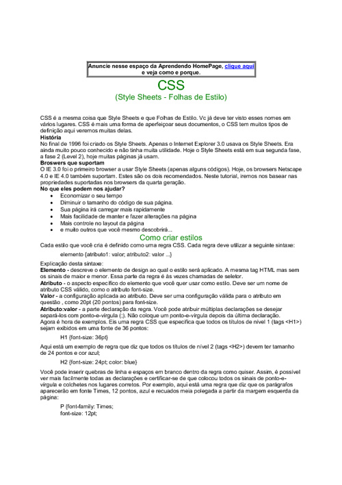 Folha de estilo - CSS