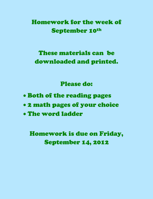 Homework for the Week of September 10th