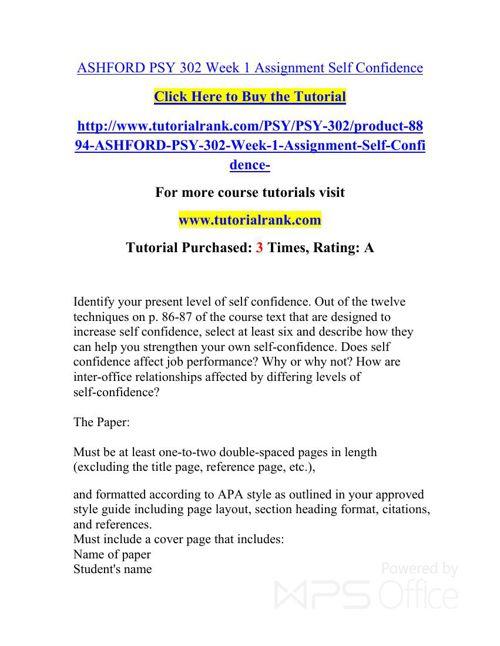 ASHFORD PSY 302   Academic professor / Tutorialrank.com