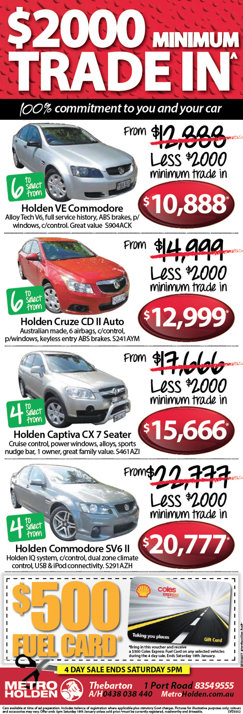 Metro Holden Specials and Sales!