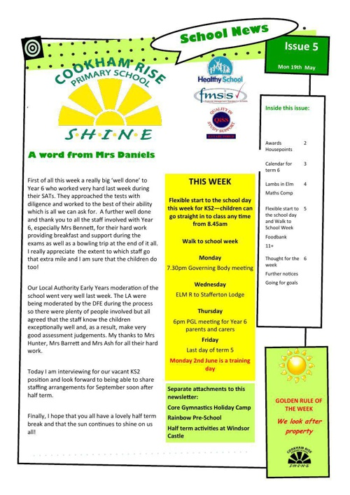 Newsletter 19th May 2014