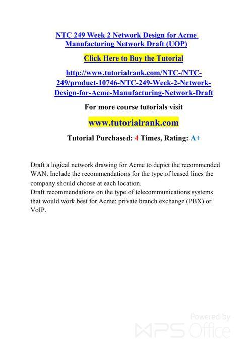 NTC 249 UOP Courses /TutorialRank
