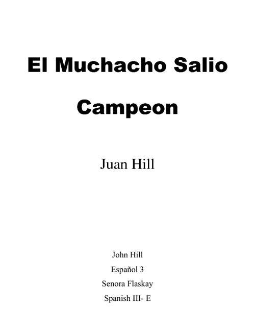 John Hill's MP2 Spanish Project