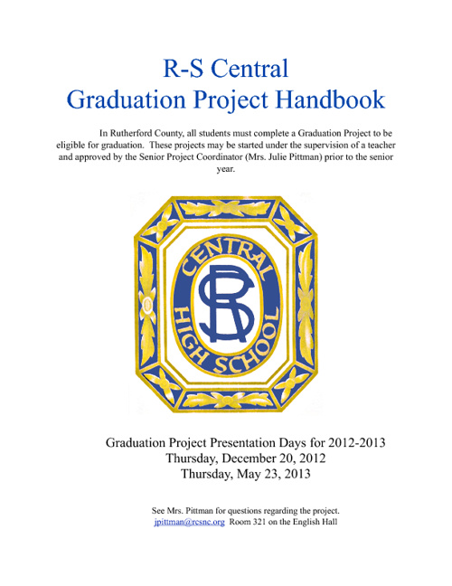 R-S Central 2012 Graduation Project Manual