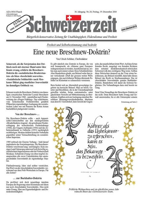 Schweizerzeit Nr. 24 vom 19.12.2014
