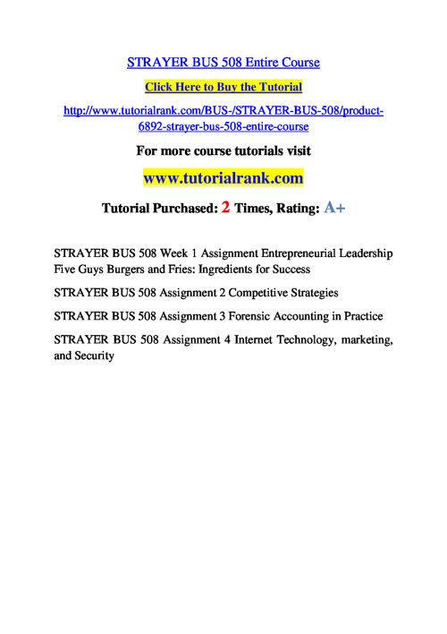 BUS 508 Slingshot Academy / Tutorialrank.Com