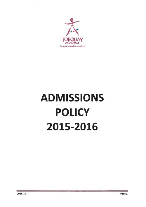 Admissions Policy 15-16