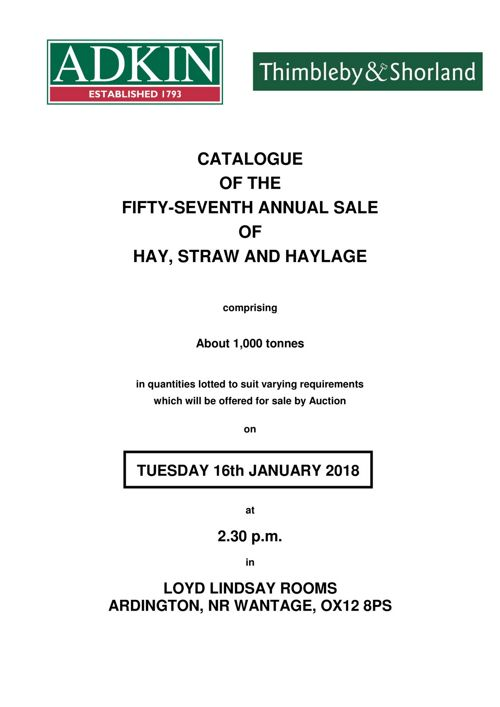 Annual Hay & Straw Sale Catalogue