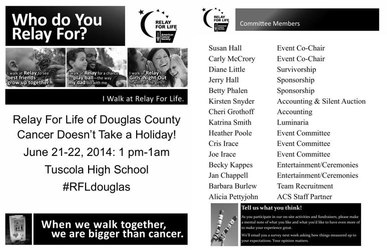 2014 Relay for Life of Douglas County Event Program