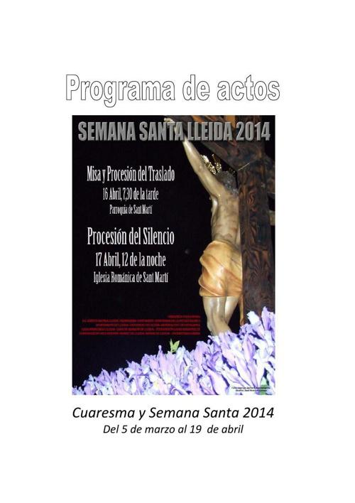 Programa de actos de Cuaresma y Semana Santa 2014