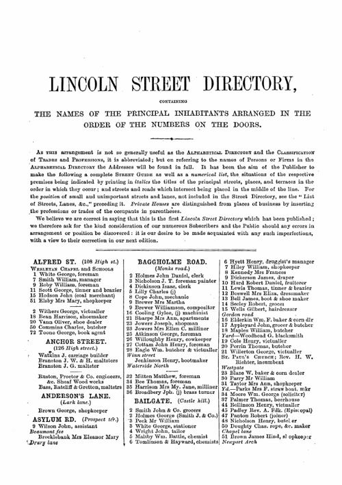 Lincoln 1872 Street Directory
