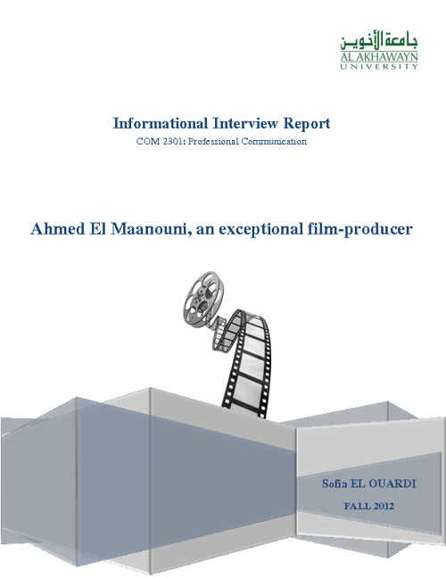 Informational Interview with the film maker, Ahmed El Maanouni