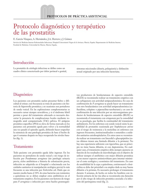 Protocolo diagnóstico y terapeutico de la prostatitis