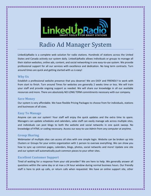 Radio Ad Manager System
