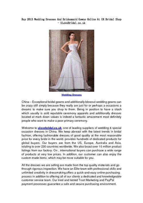 Buy 2013 Wedding Dresses And Bridesmaid Gowns Online At UK