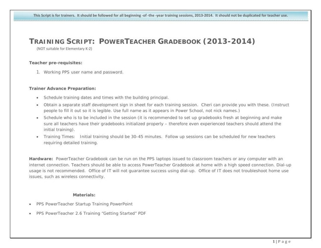 PowerTeacher Gradebook Training Script 2013-2014