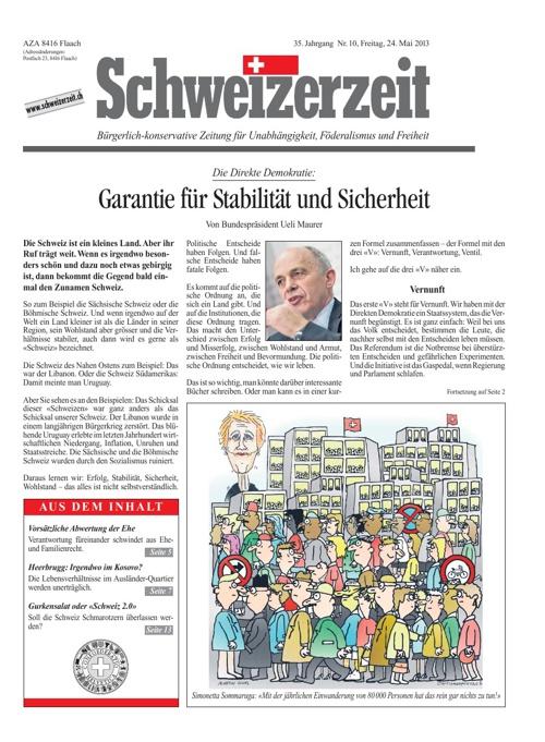 Schweizerzeit Nr. 10 vom 24.05.2013