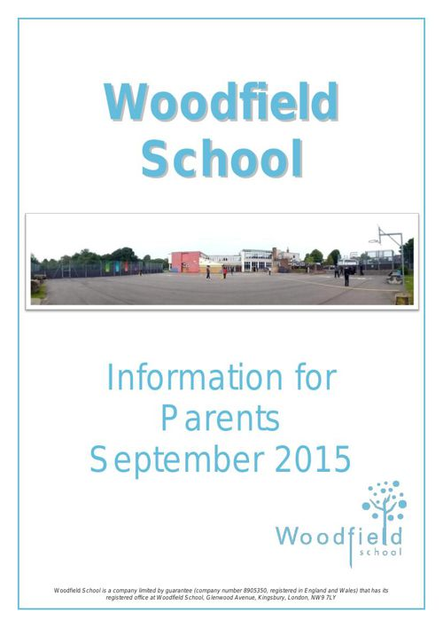 Woodfield School Prospectus September 2015