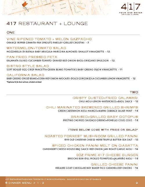 417 Restaurant + Lounge Menu
