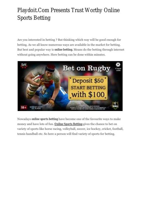Playdoit.Com Presents Trust Worthy Online Sports Betting